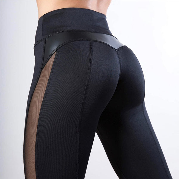Leggings - Women Solid High Waist Fitness Legging with Fashion Mesh and PU Leather Patchwork