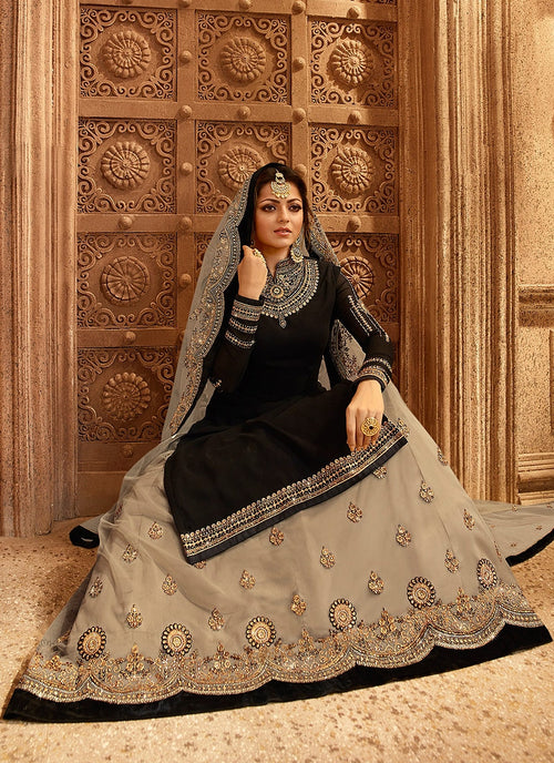 Black And Beige Dual Bottom Lehenga/Pant Kurti Set
