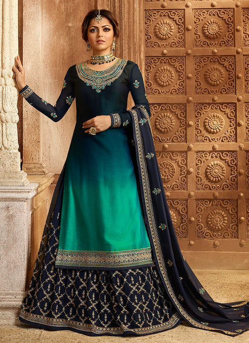 Blue And Turquoise Dual Bottom Lehenga/Pant Kurti Set