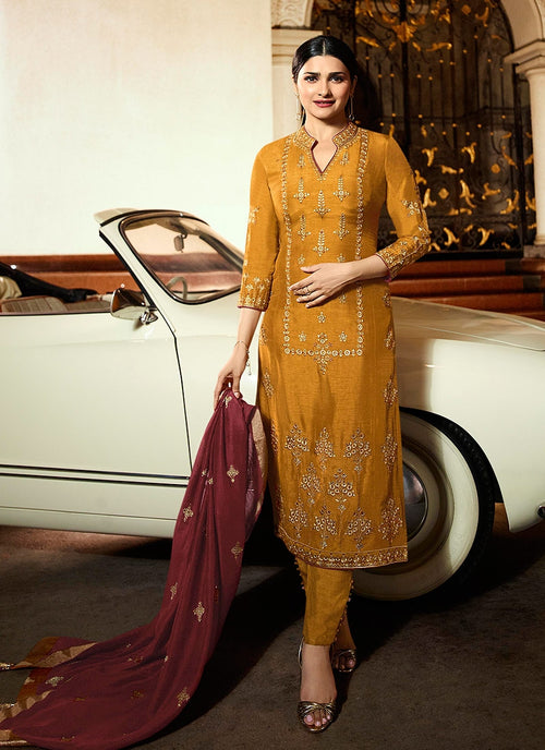 Mustard Yellow And Maroon Pakistani Pant Suit