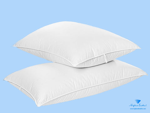 Naples Pillow Combo - 2 Hungarian White Goose Down Pillows 500TC/750 Loft