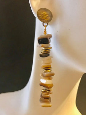 Mixed MOP chips with brass accents earrings