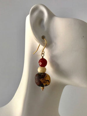 Wood, crystal and carnelian earrings