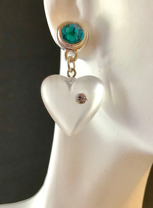 Green crystal post frosted lucite heart earrings