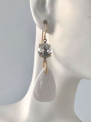 Crystal and carved white lucite earrings