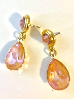 Peach crystal post pear bezel drop earrings