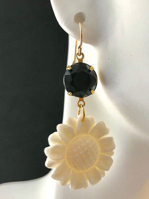 Black and bone flower earrings