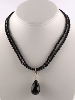 Onyx two strand bead and briolette necklace