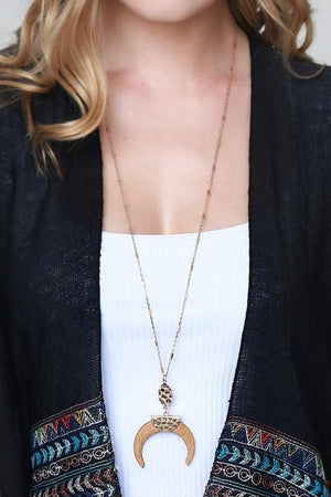 HANGING IN THERE WOOD CRESCENT HORN NECKLACE-BLACK,BROWN,LIGHT BROWN - Infinity Raine