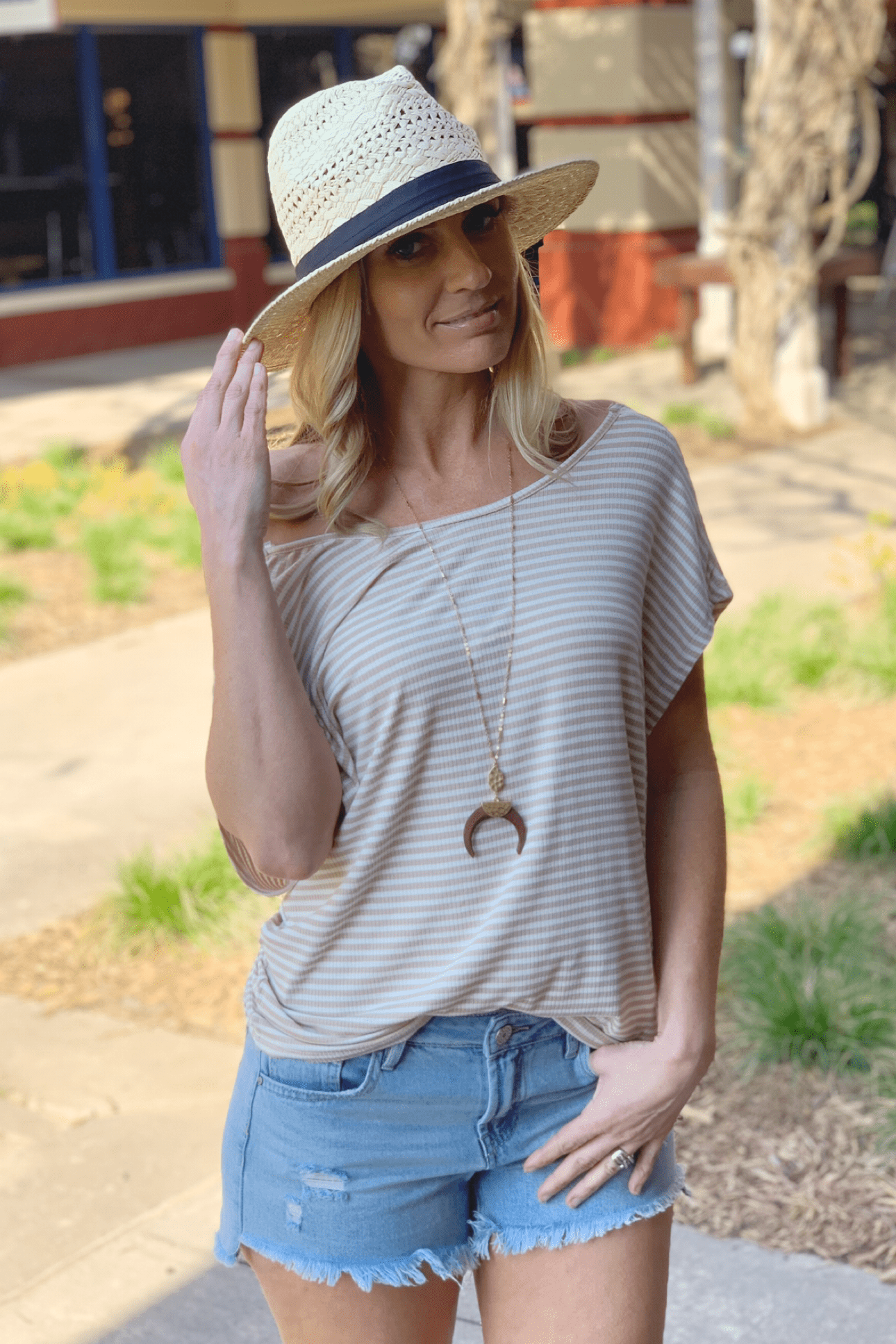 TWISTED LOVE STRIPED RIBBED TOP-TAUPE - Infinity Raine