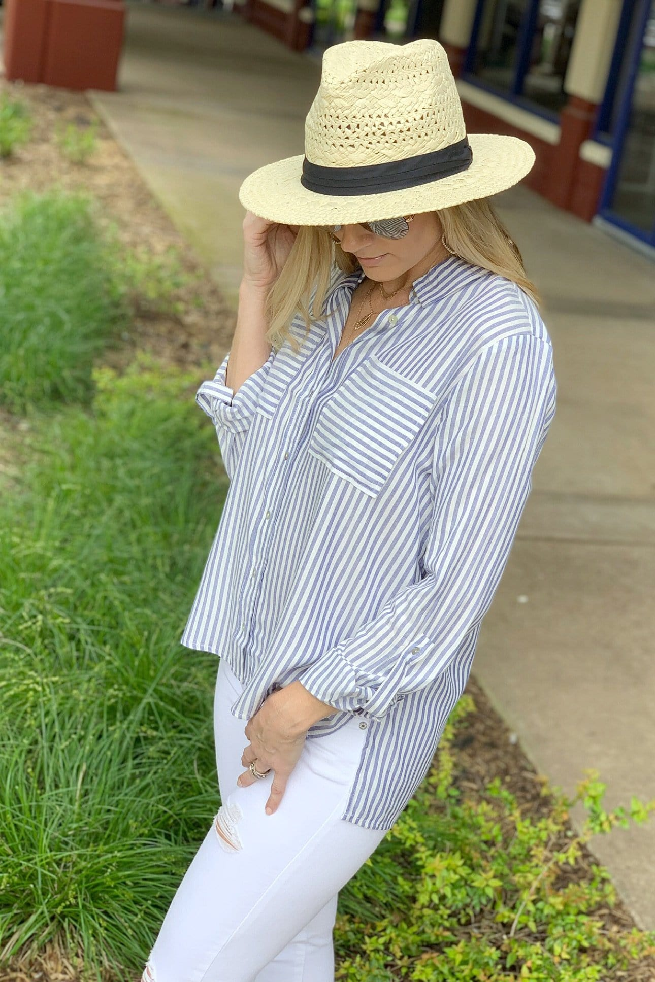 THE SUITE LIFE STRIPED TOP-BLUE - Infinity Raine