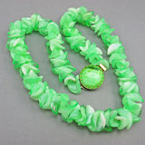 Greeny vintage plastic beads necklace