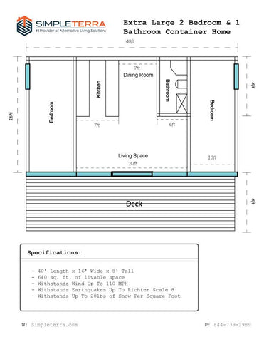 Image of Extra Large 2 Bedroom & 1 Bathroom Container Home