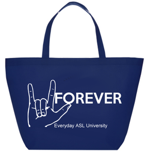 Navy Blue ASL I Love You Tote Bag with FREE S&H