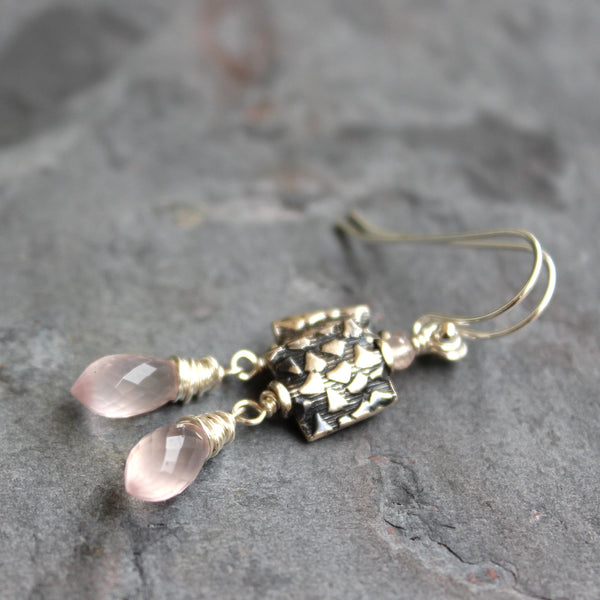 Rose Quartz Earrings Pink Drops with Square Bali Sterling Silver Beads