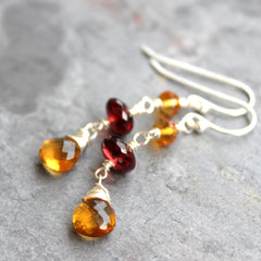 Garnet Citrine Earrings Sterling Silver Contrast Dangle Gemstones by Aerides