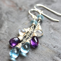 Multi Gemstone Earrings Blue Topaz Amethyst Sterling Silver Dangle Cascade