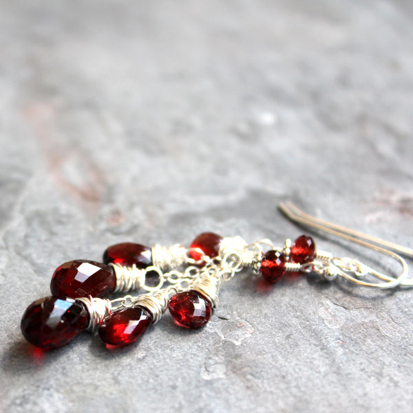 Dangle Garnet Earrings Sterling Silver Cascade Red Gemstone Briolettes by Aerides