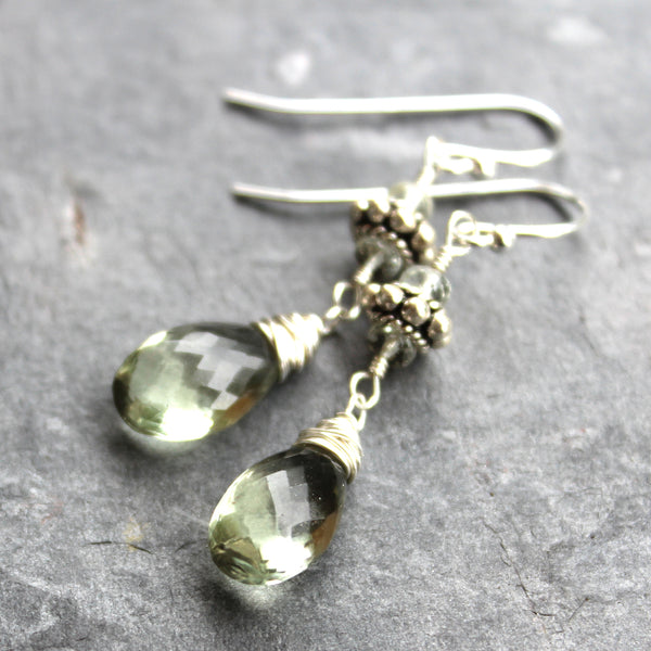 Green Amethyst Earrings Sterling Silver Prasiolite Gemstones with Bali Beads, by Aerides