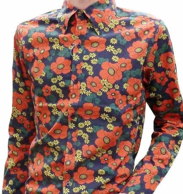Shirt Psychedelic Mod Floral Poppy by Run & Fly