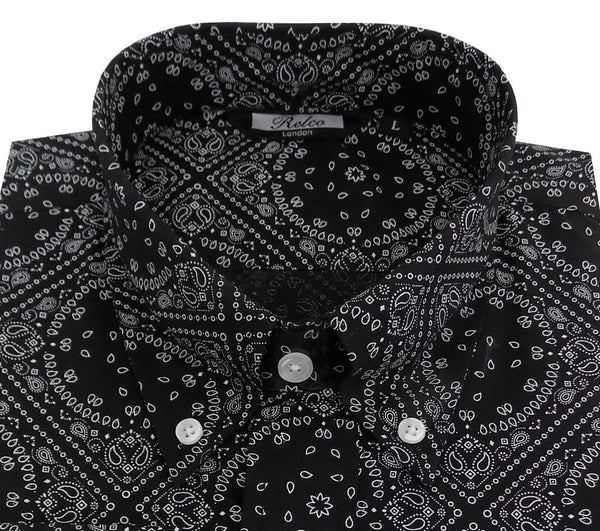 Shirt Paisley Diamond Men's Black Casual Vintage Long Sleeve Shirt - Relco - CXLondon.Com