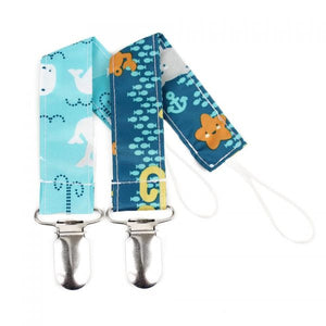 Bumkins – Pacifier Clip 2 Pack, Sea Friends & Whales