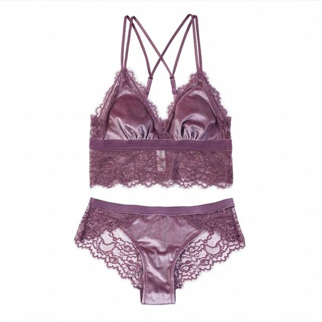 New Fashion Sexy Velvet Bra set - Lingerie SexWeLove ™ Lavender / L Online Adult Shop & Sexy Lingerie Sexwelove