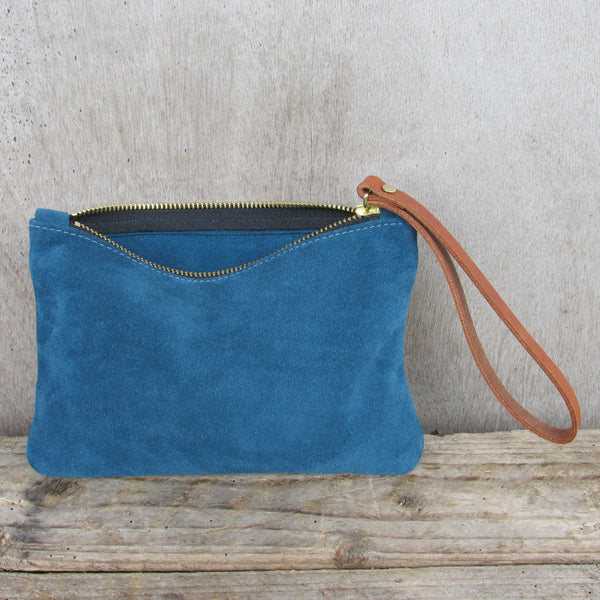 Moreton Suede Pouch -Teal