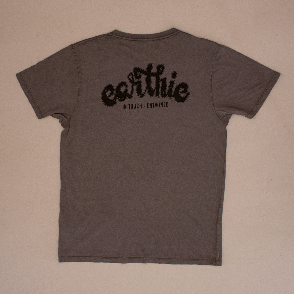 Earthie – Unisex Classic Tee – Stone Wash Grey – Small Logo Front Large Logo Back - Back