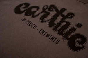 Earthie – Unisex Classic Tee – Stone Wash Grey – Small Logo Front Large Logo Back - Close Up