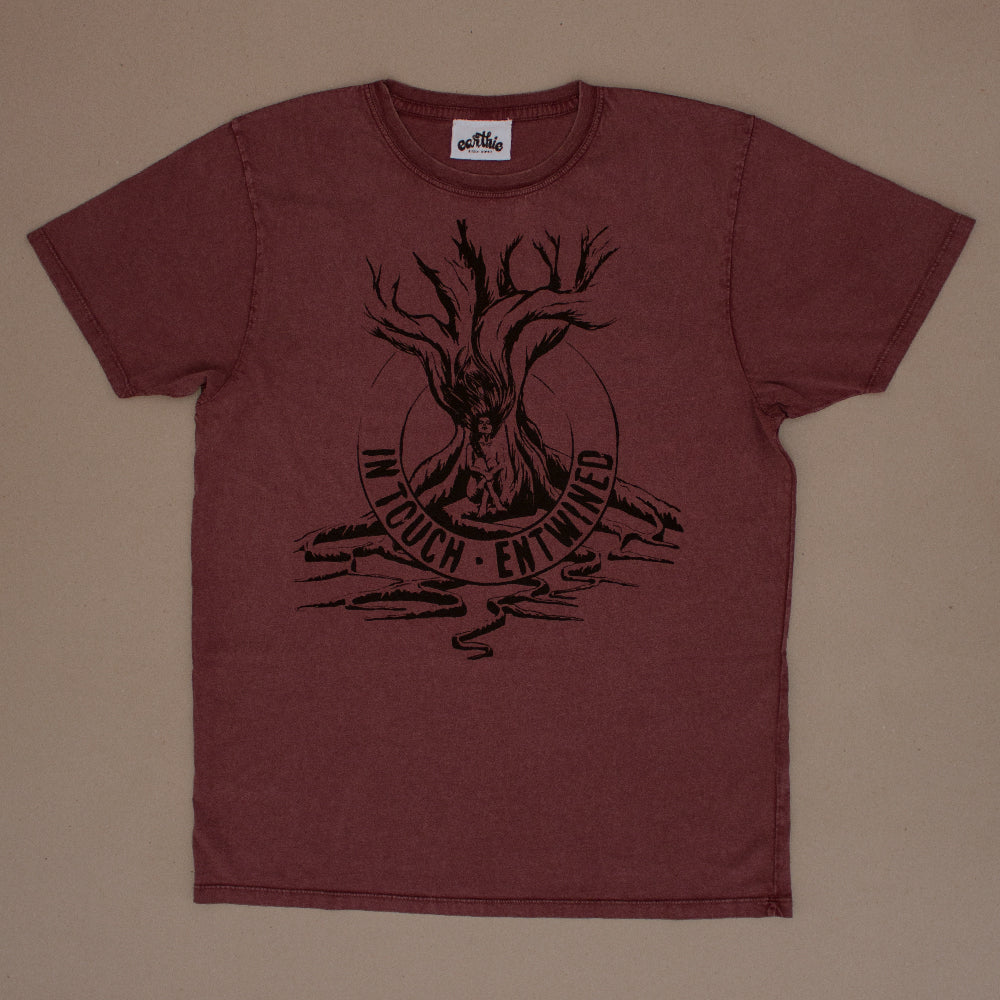 Entwined – Unisex Classic Tee – Stone Wash Burgundy - Front