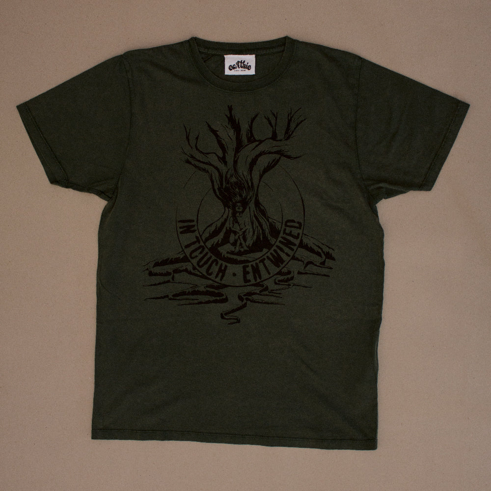 Entwined – Unisex Classic Tee – Stone Wash Green - Front