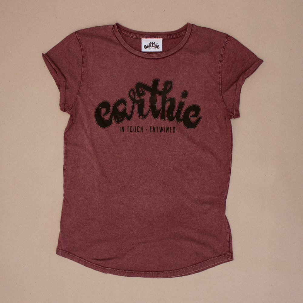 Earthie – Womens Rolled Sleeve Tee – Stone Wash Burgundy – Large Logo Front - Front