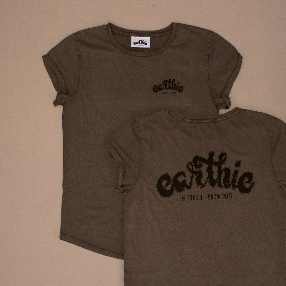 Earthie – Womens Rolled Sleeve Tee – Stone Wash Grey – Small Logo Front Large Logo Back - Front and Back