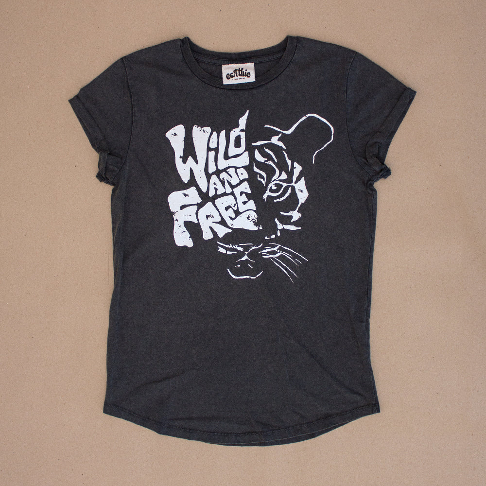 Wild And Free – Womens Rolled Sleeve Tee – Stone Wash Denim - Front