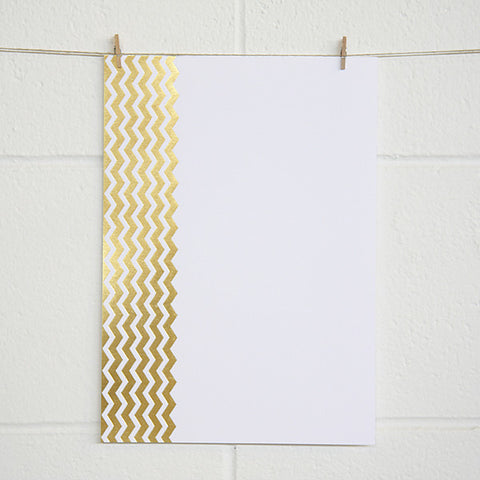 'Chevron' Gold Foil on White, PRINTme Paper, 10pk