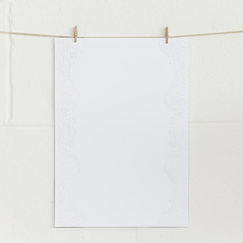 'Doily' Embossed on White, PRINTme Paper, 50pk