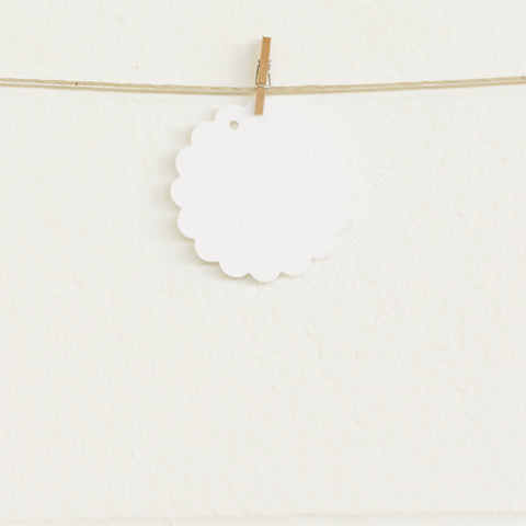 Scalloped Tags, White, 20pk
