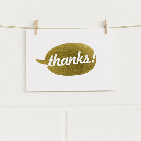 'Say Thanks' Gold Foil on White, Thank You Cards, 40pk