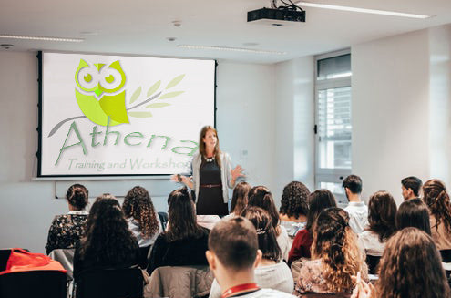 Photo of an Athena training workshop taking place in a room