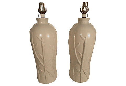 A Hollywood Regency Bamboo-Motif Lamps, Pair