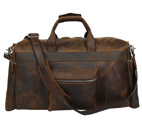 Traveling Duffle Bag Brown Top Grain Leather Bag