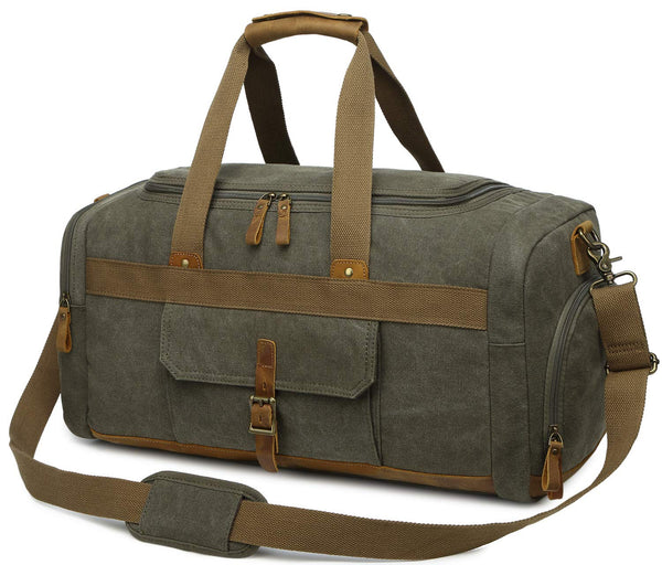 Canvas Travel Overnight Duffel Bag - Large Weekend Carry on Bag
