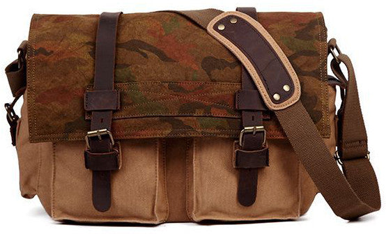 Army Messenger Bag - Camouflage Over Flap Satchel with Pliable Canvas