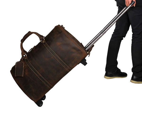 Genuine Leather Rolling Wheeled Trolley / Duffle Bag