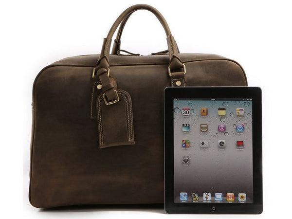 Mens Overnight Bag Leather Travel Holdall - Serbags  - 4