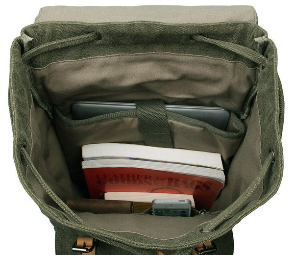 interior pockets for the khaki variant of the Serbags canvas daypack