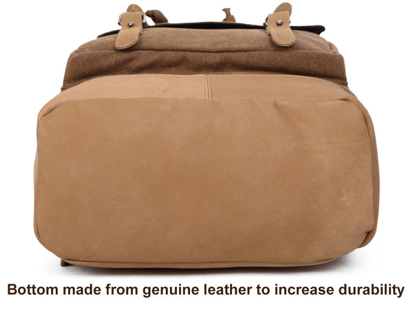 Canvas Daypack with Leather Straps & Laptop Sleeve - Premium Quality - Serbags  - 12