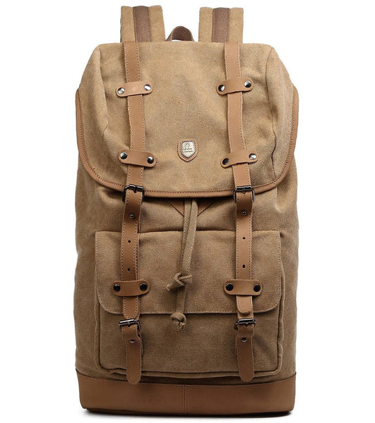 Top Grain Genuine Leather Sturdy Canvas Laptop Rucksack