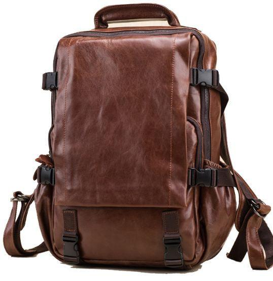 Brown Leather Computer Backpack With Many Pockets